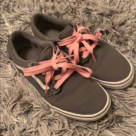Vans Shoes - Gray Old Skool Vans with Pink Laces